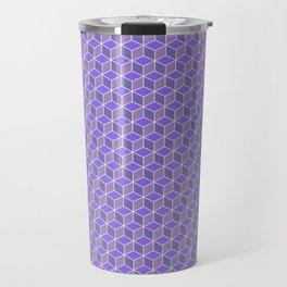 Violet Lilac Indigo Cubes Pattern Travel Mug