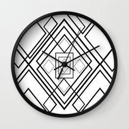 Modern black white geometrical diamond shapes Wall Clock