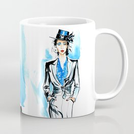 fashion #32: woman in black suit and hat Coffee Mug
