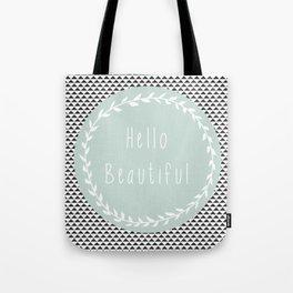 Hello Beautiful, Geometric, Quote, Modern, Home Decor Tote Bag