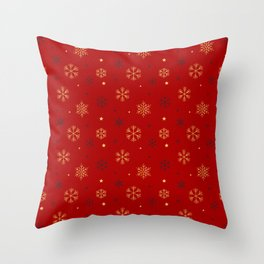 Red background with black and gold snowflake xmas pattern Throw Pillow