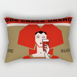 Retro art deco Crack Soda Orange advertisement Rectangular Pillow