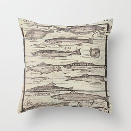 father's day fisherman gifts whitewashed wood lakehouse freshwater fish Throw Pillow