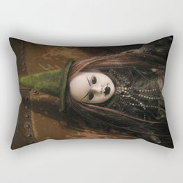 Creepy Gothic Halloween Mourning Witch Doll Rectangular Pillow