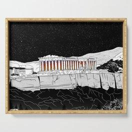 Parthenon black and white Serving Tray