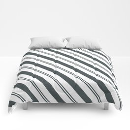 PPG Night Watch Pewter Green  and Dark Green Stripes Angled Lines Comforters