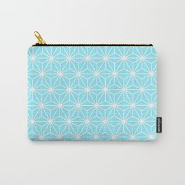 Ice Blue Geometric Flowers and Florals Isosceles Triangle Carry-All Pouch