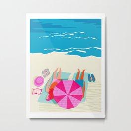 Toasty - memphis throwback minimal retro neon beach surfing suntan waves ocean socal pop art Metal Print