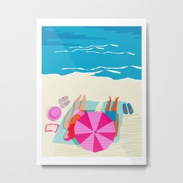 Toasty - memphis throwback minimal retro neon beach surfing suntan waves ocean socal pop art Metal Print