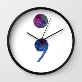 Watercolor Semicolon Wall Clock