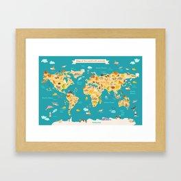 Animal map for kid. World vector poster Framed Art Print