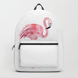 Hand drawn watercolor tropical bird flamingo. Exotic rose bird illustration Backpack