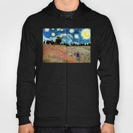 Monet's Poppies with Van Gogh's Starry Night Sky Hoody