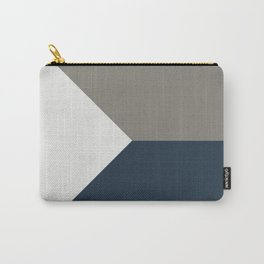 Blue Grey White Abstract Geometric Art Carry-All Pouch