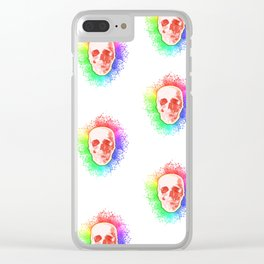 Skulls Rainbow Colorful life Clear iPhone Case