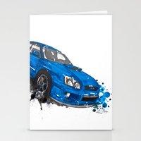 subaru Stationery Cards featuring Subaru Impreza by Claeys Jelle Automotive Artwork
