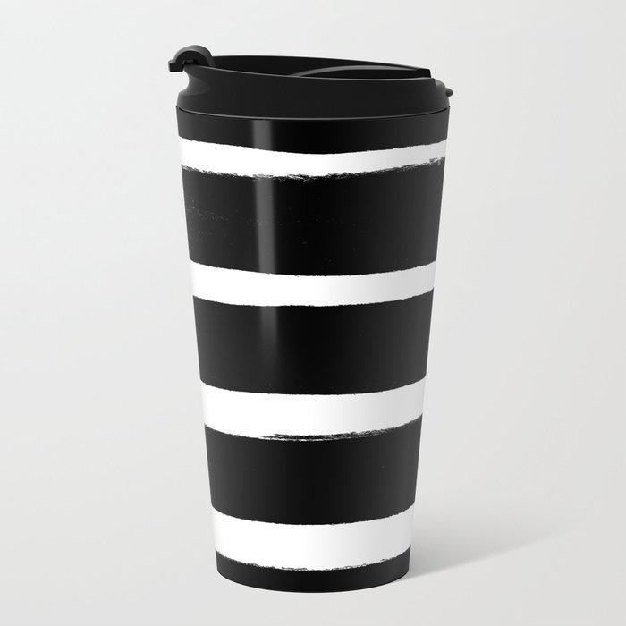 BLK Stripes Metal Travel Mug
