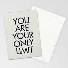You are your only limit, inspirational quote, motivational signal, mental workout, daily routine Stationery Cards