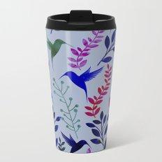 Watercolor Floral & Birds Metal Travel Mug