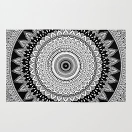 Black and White Mandala Two Rug