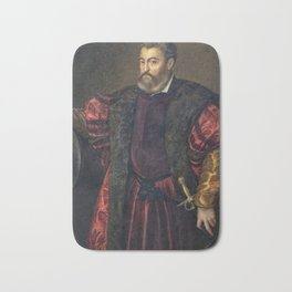 Portrait of Alfonso d'Este, Duke of Ferrara, by Titan Bath Mat