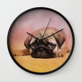 Pug puppy  Digital Art Wall Clock
