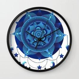Blue monochromatic mandala dream catcher Wall Clock