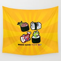 super mario Wall Tapestries featuring Super Mario Sushi by thickblackoutline