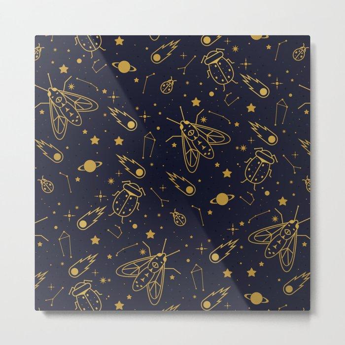 Golden Celestial Bugs Metal Print