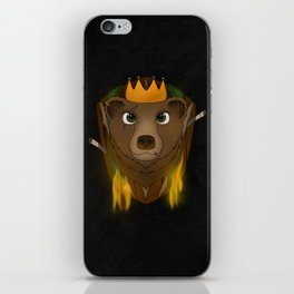 """The Warlord Bear"" Black Textured Background iPhone Skin"