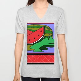 Watermelon with flower and red tile Unisex V-Neck
