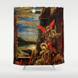 """Gustave Moreau """"St. Cecilia (The Angels Announcing her Coming Martyrdom)"""" Shower Curtain"""