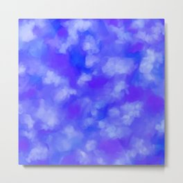 Abstract Clouds - Rich Royal Blue Metal Print