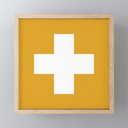Swiss Cross Mustard Framed Mini Art Print