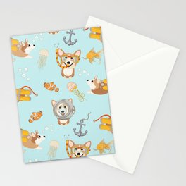 Majesty Pembroke - Happy Diving Corgis Stationery Cards