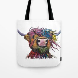 Scottish Highland Cow ' ROCK A BILLY ' by Shirley MacArthur Tote Bag