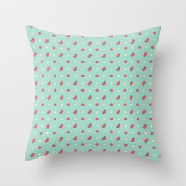 strawberry pattern in mint Throw Pillow