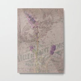 Mountain Phacelia - Scorpionweed - Watercolor Floral and Ephemera Collage Print Metal Print
