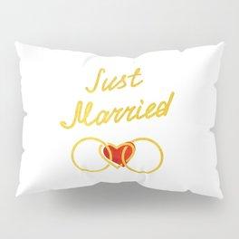 Just Married Honeymoon Pure Gold Pillow Sham