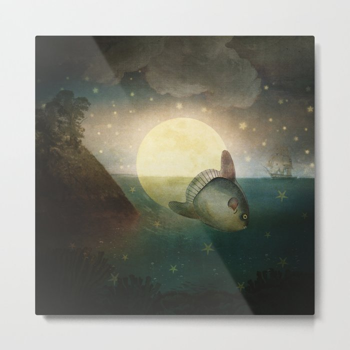 The Fish That Stole The Moon Metal Print