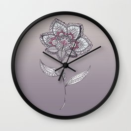 Muted Flower Design Wall Clock