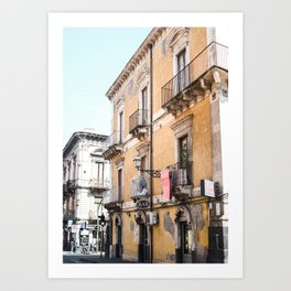 Italian Architecture | Yellow Building | Catania Street Style  | Sicily travel Art saigeashstudidio Art Print