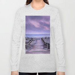 """To the beach...."" Purple sunset Long Sleeve T-shirt"