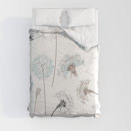 Hand drawn vector dandelions in rustic style Comforters
