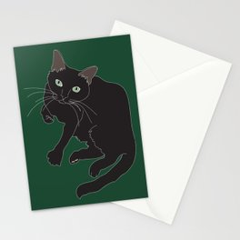 Black Cat Illustrated Print Emerald Green Stationery Cards
