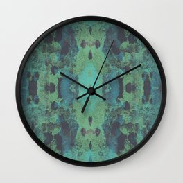 Sycamore Kaleidoscope - Graphite blue green Wall Clock