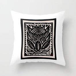 Woodcut Flower Throw Pillow