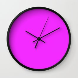 Solid Bright Neon Pink Color Wall Clock