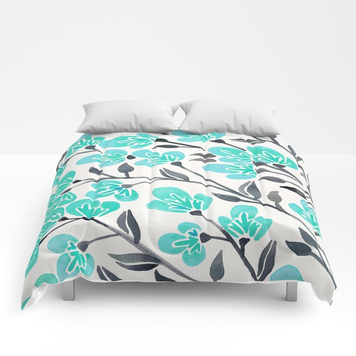 Cherry Blossoms – Turquoise & Black Palette Comforters