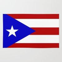 puerto rico Area & Throw Rugs featuring puerto rico country flag star by tony tudor